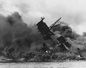 USS Arizona sunk at Pearl Harbor, December 7, 1941