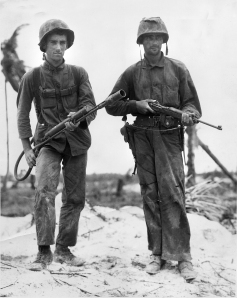 Marine Pfc. Stanley A. Parks (left), with Randolph Peters