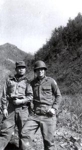 Army Pfc. Gene Salay  with a South Korean interpreter in 1953 near the North Korean border. The interpreter, Kim Yung Jo, was killed soon afterward in the Battle of the Kumsong River Salient.