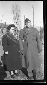 Warren Neubauer with his mother, Eva, in Allentown during World War II.