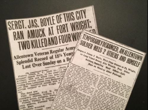 Sgt. Boyle clips from Allentown Morning Call (left) and Allentown Democrat