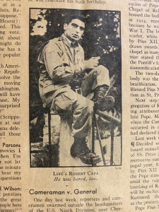 Photojournalist Robert Capa in July 10, 1944, Pacific Pony Edition of Time magazine