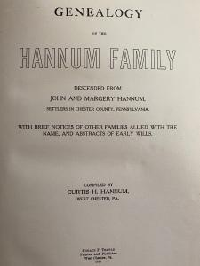 Hannum family history, 1911